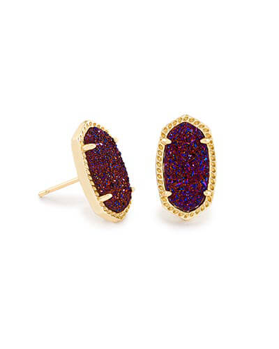 Ellie Stud Earrings in Plum Drusy