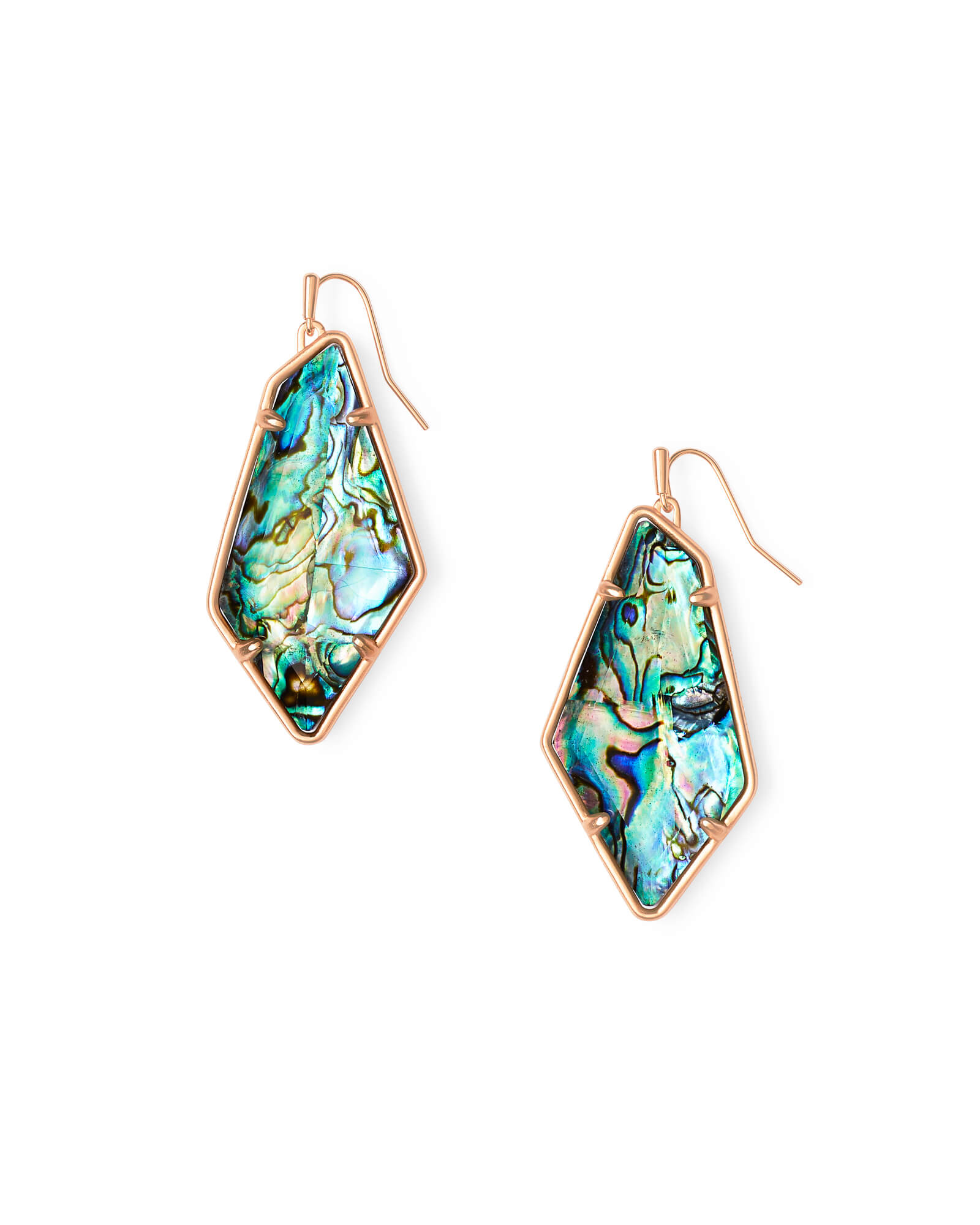 Emmie Rose Gold Drop Earrings in Abalone Shell