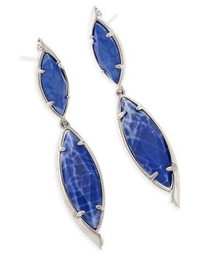 Maisey Statement Earrings in Crackle Blue Agate