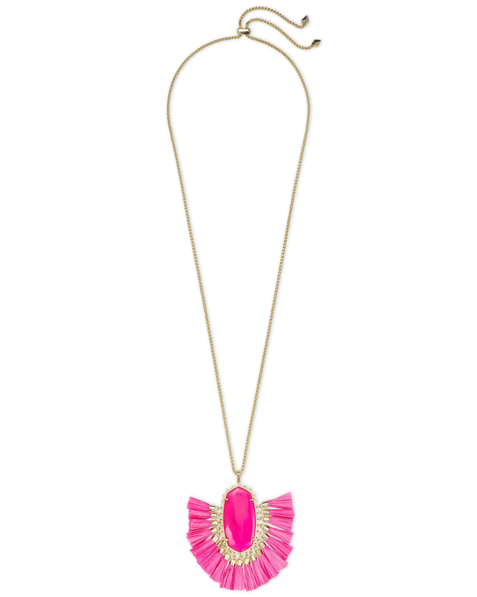 Betsy Gold Long Pendant Necklace in Pink Agate
