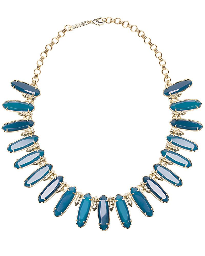 Gabriella Statement Necklace in Teal Agate