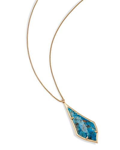 Damon Long Pendant Necklace in Aqua Apatite