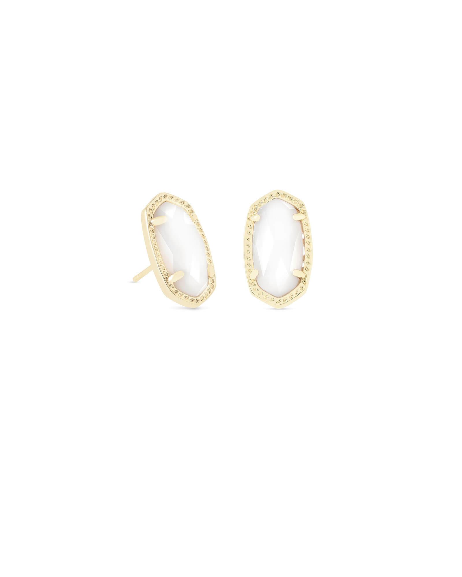 0c3290d74 Ellie Gold Stud Earrings in White Pearl | Kendra Scott