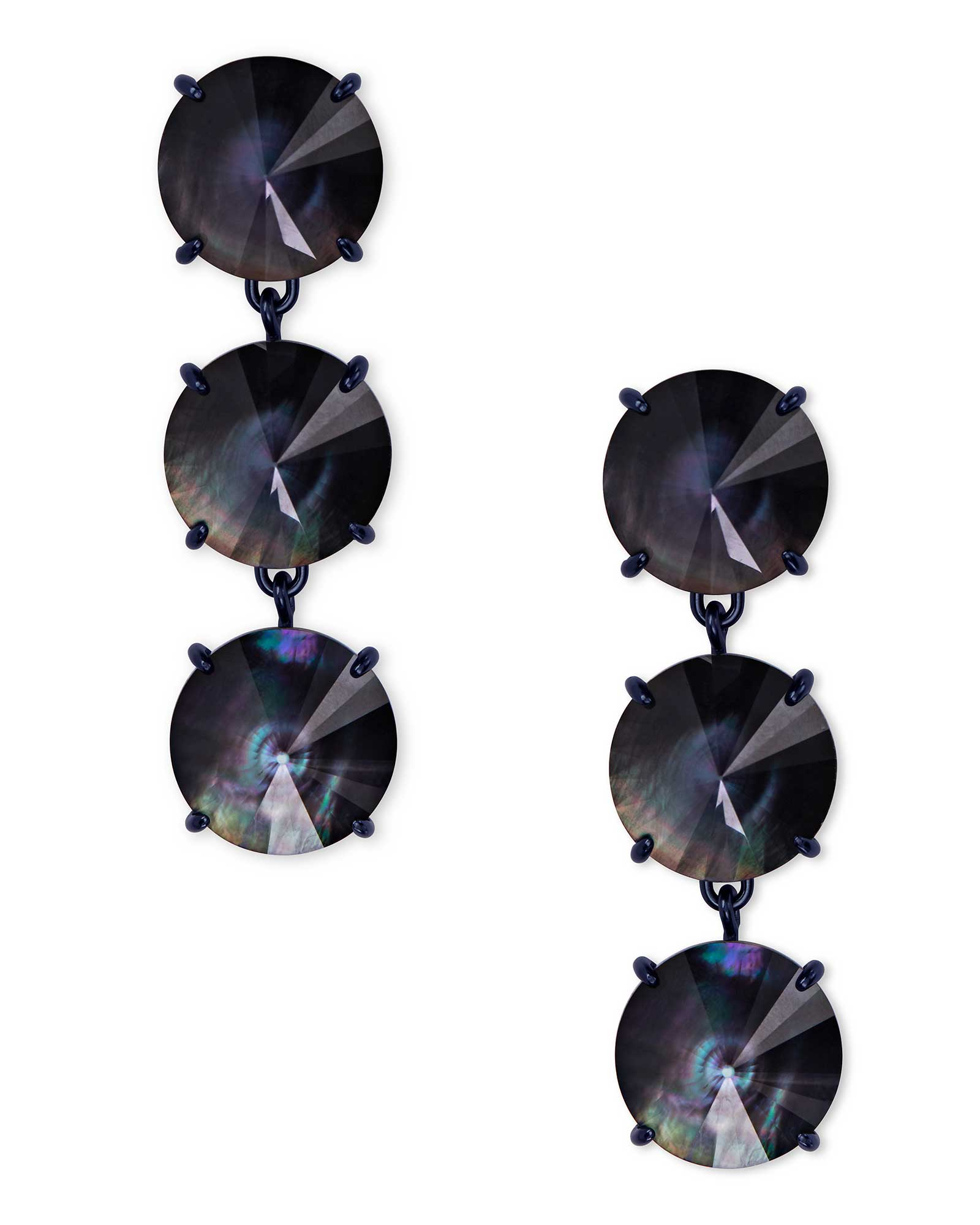 Jolie Navy Gunmetal Statement Earrings in Indigo Illusion