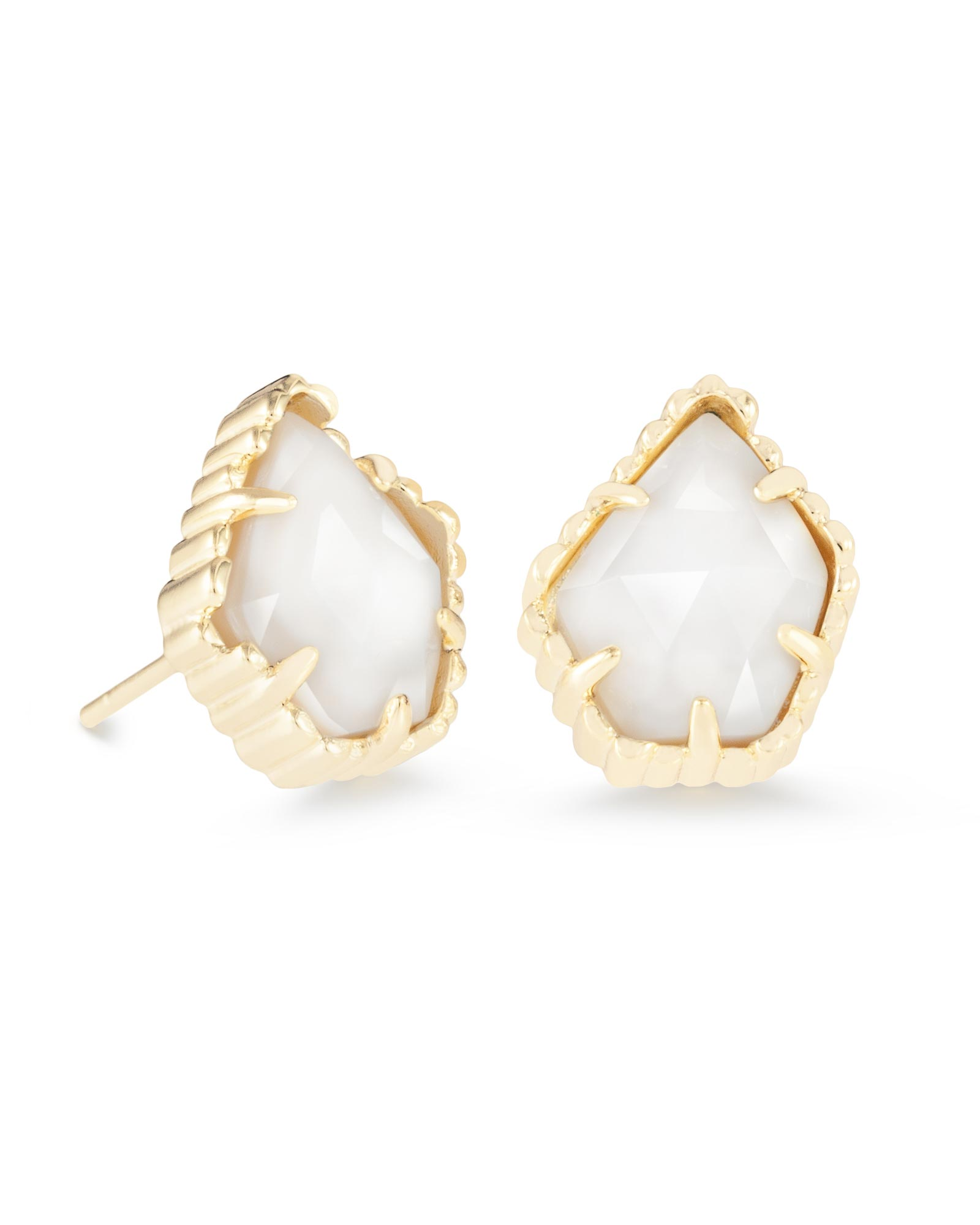 Tessa Stud Earrings in White Pearl