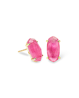 Betty Gold Stud Earrings in Azalea Illusion