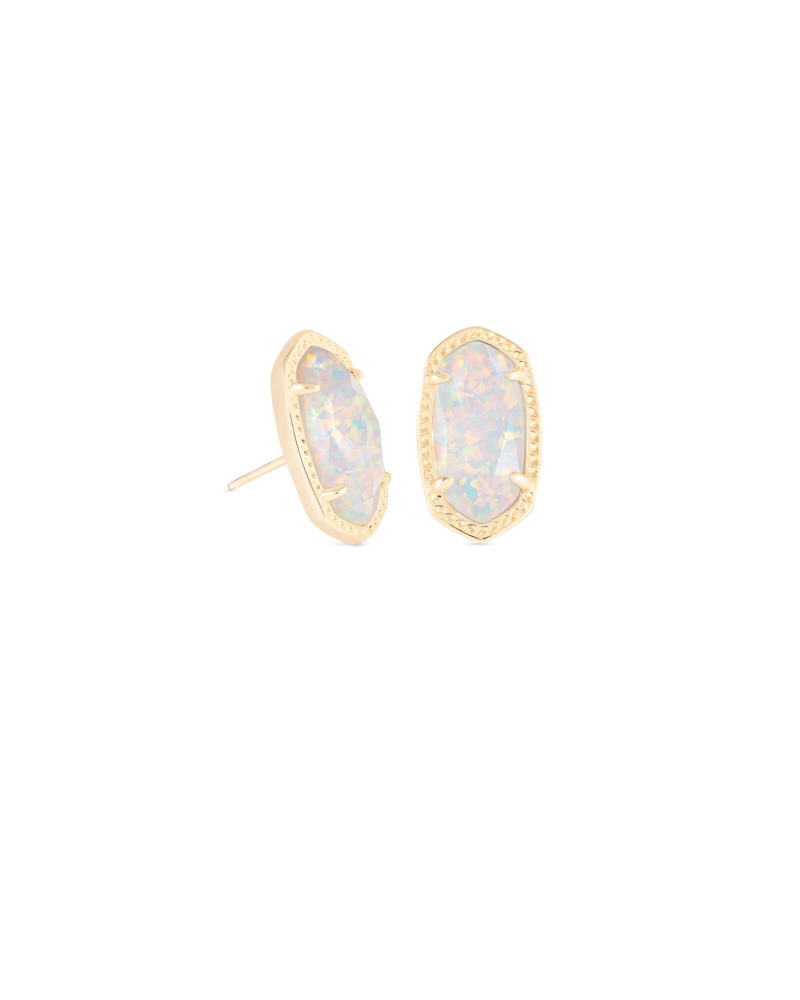 Ellie Gold Stud Earrings In White Kyocera Opal