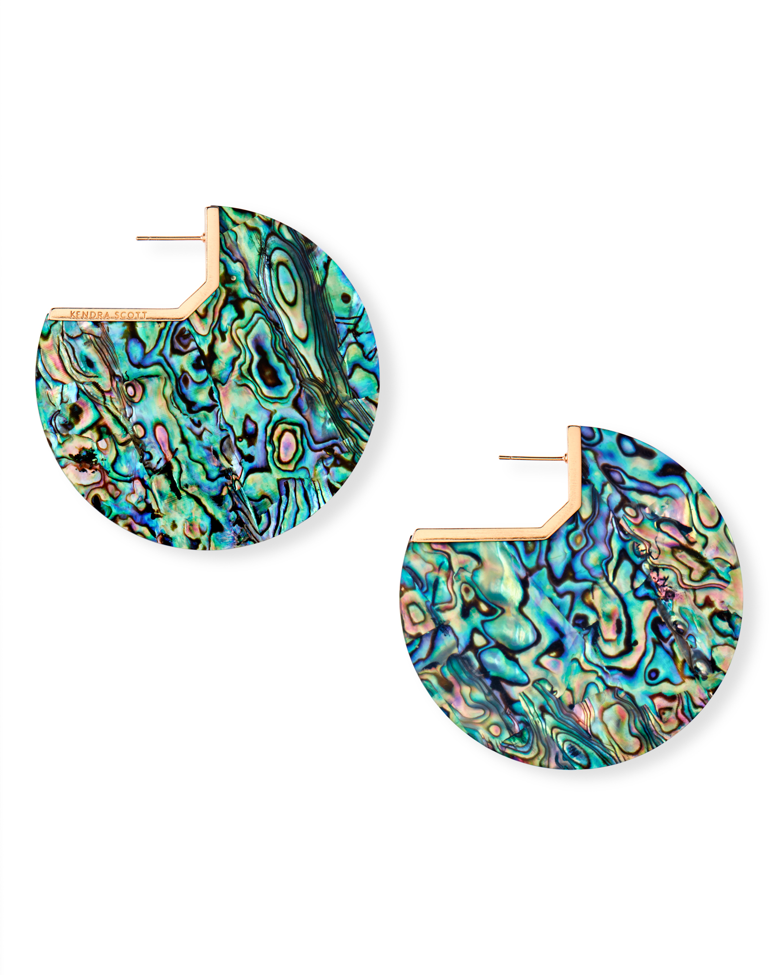 Kai Rose Gold Hoop Earrings in Abalone Shell