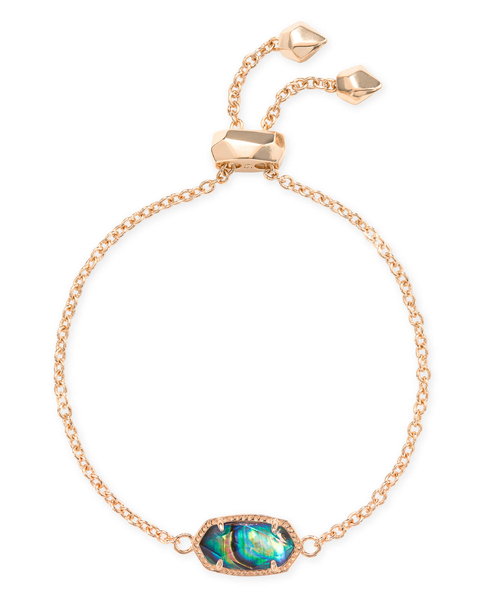 Elaina Rose Gold Adjustable Chain Bracelet in Abalone Shell