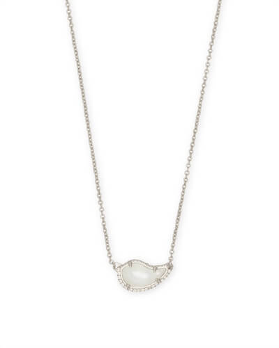 Tansy Silver Pendant Necklace in Ivory Pearl