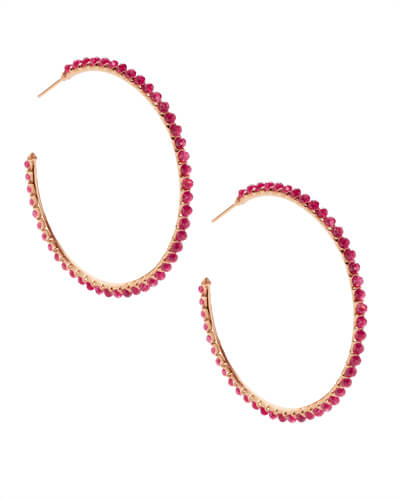 Birdie Rose Gold Hoop Earrings in Maroon Jade