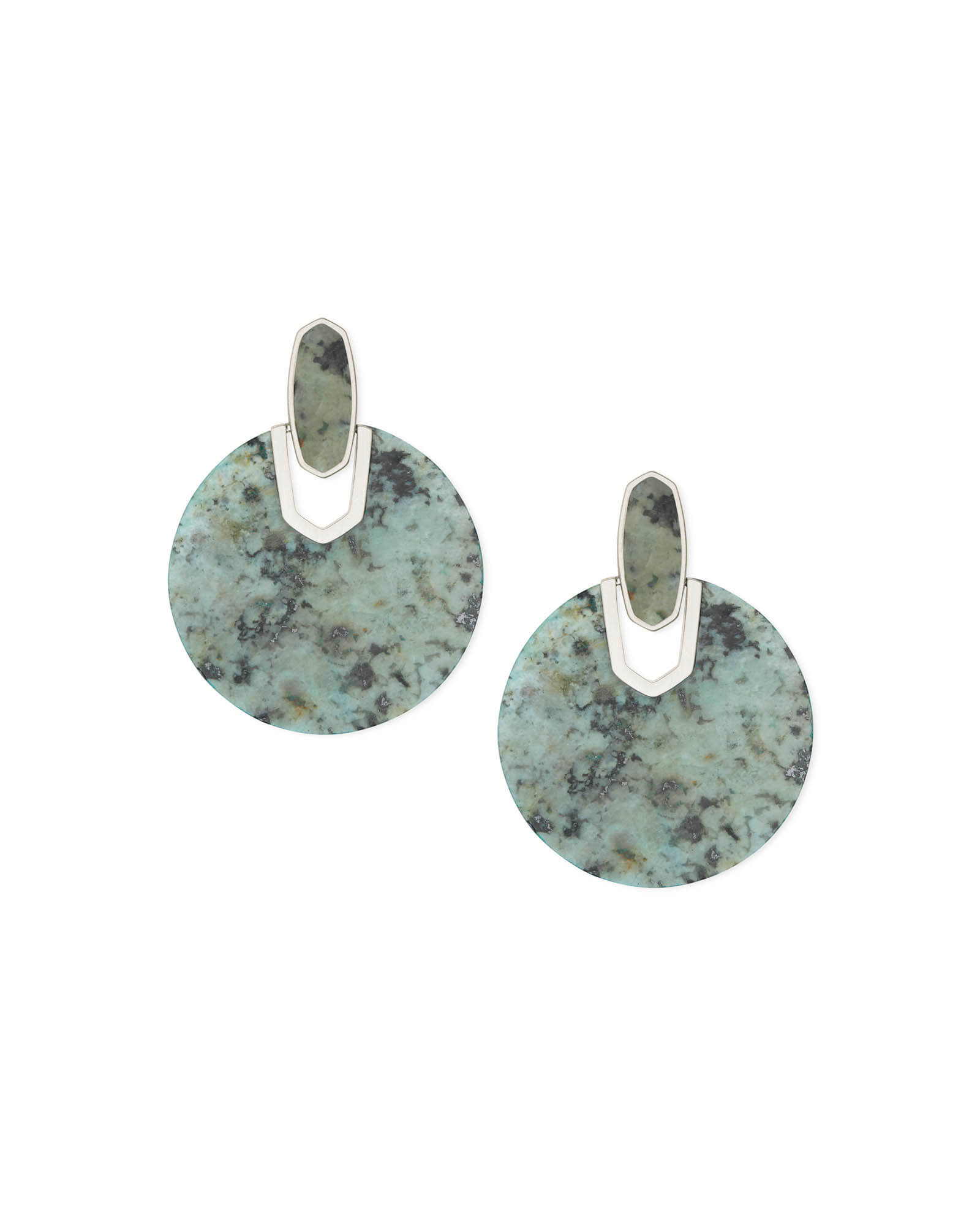 Didi Silver Statement Earrings in African Turquoise