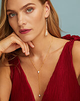 Lillian Lariat Necklace in Pave Diamond and 14k White Gold