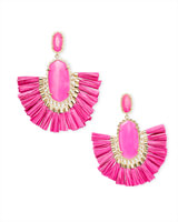 Cristina Gold Statement Earrings In Pink Agate