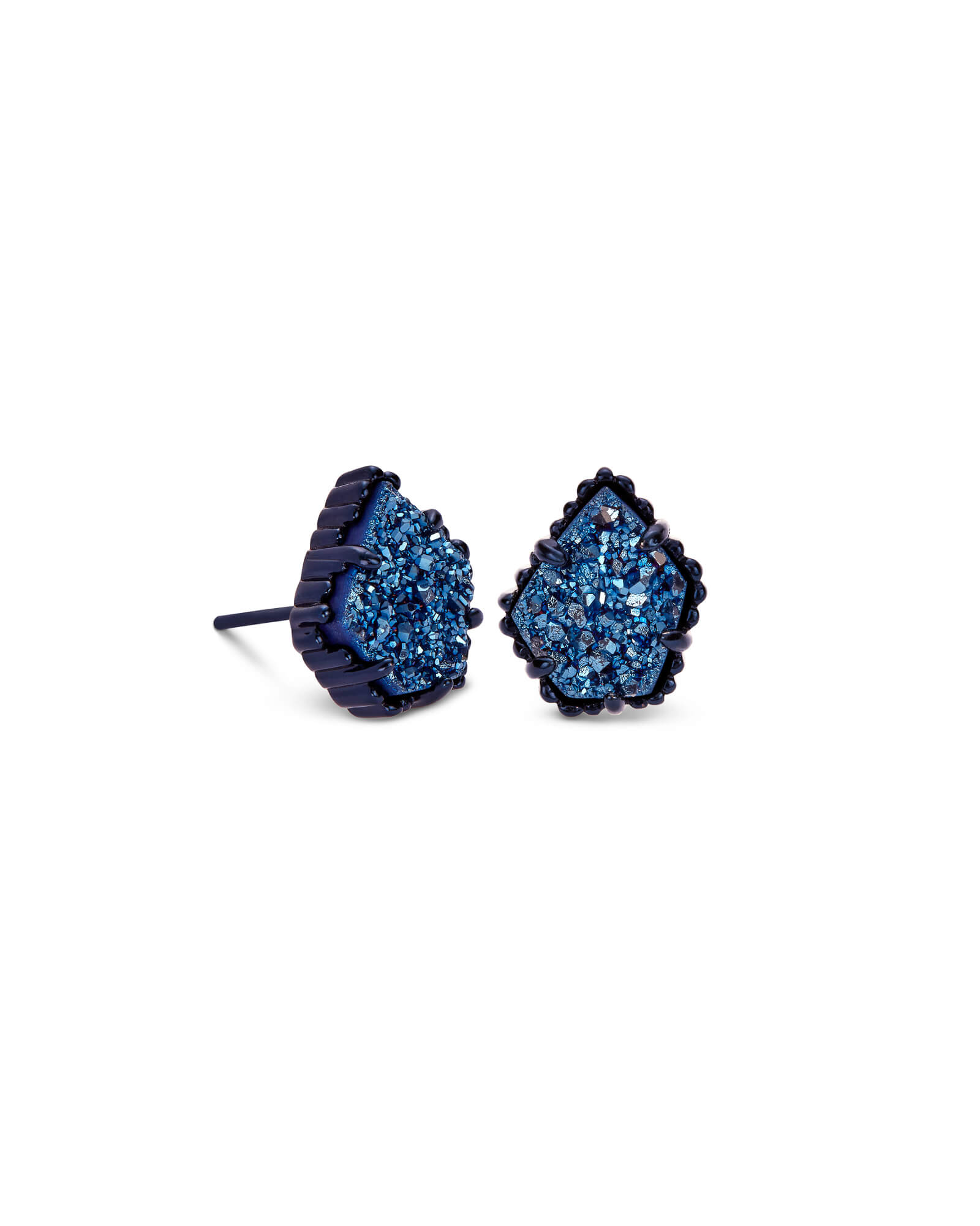 Tessa Navy Gunmetal Stud Earrings in Blue Drusy