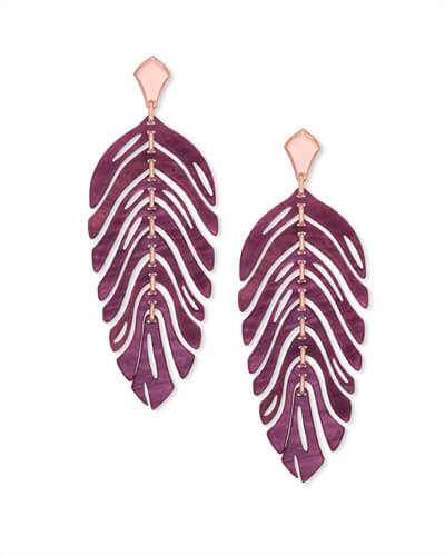 Lotus Rose Gold Statement Earrings in Maroon Marbled Acrylic