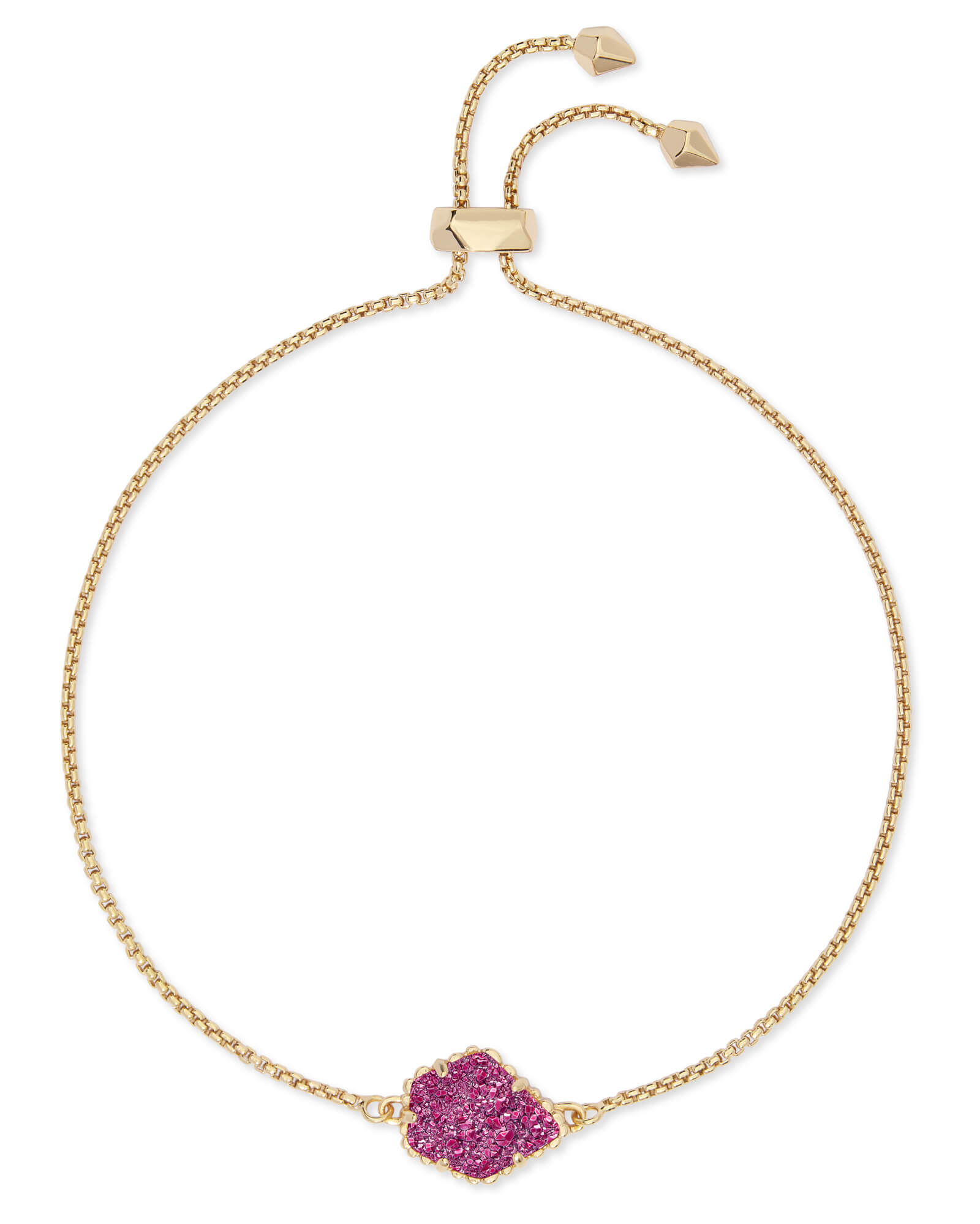 Theo Gold Adjustable Chain Bracelet in Deep Fuchsia Drusy