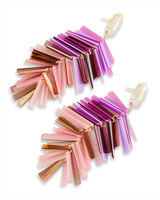 Justyne Gold Statement Earrings in Blush Mix Mother of Pearl