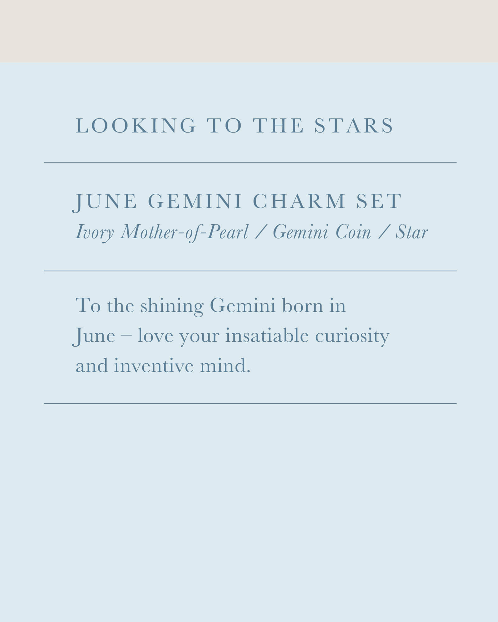 June Gemini Charm Necklace Set in Silver