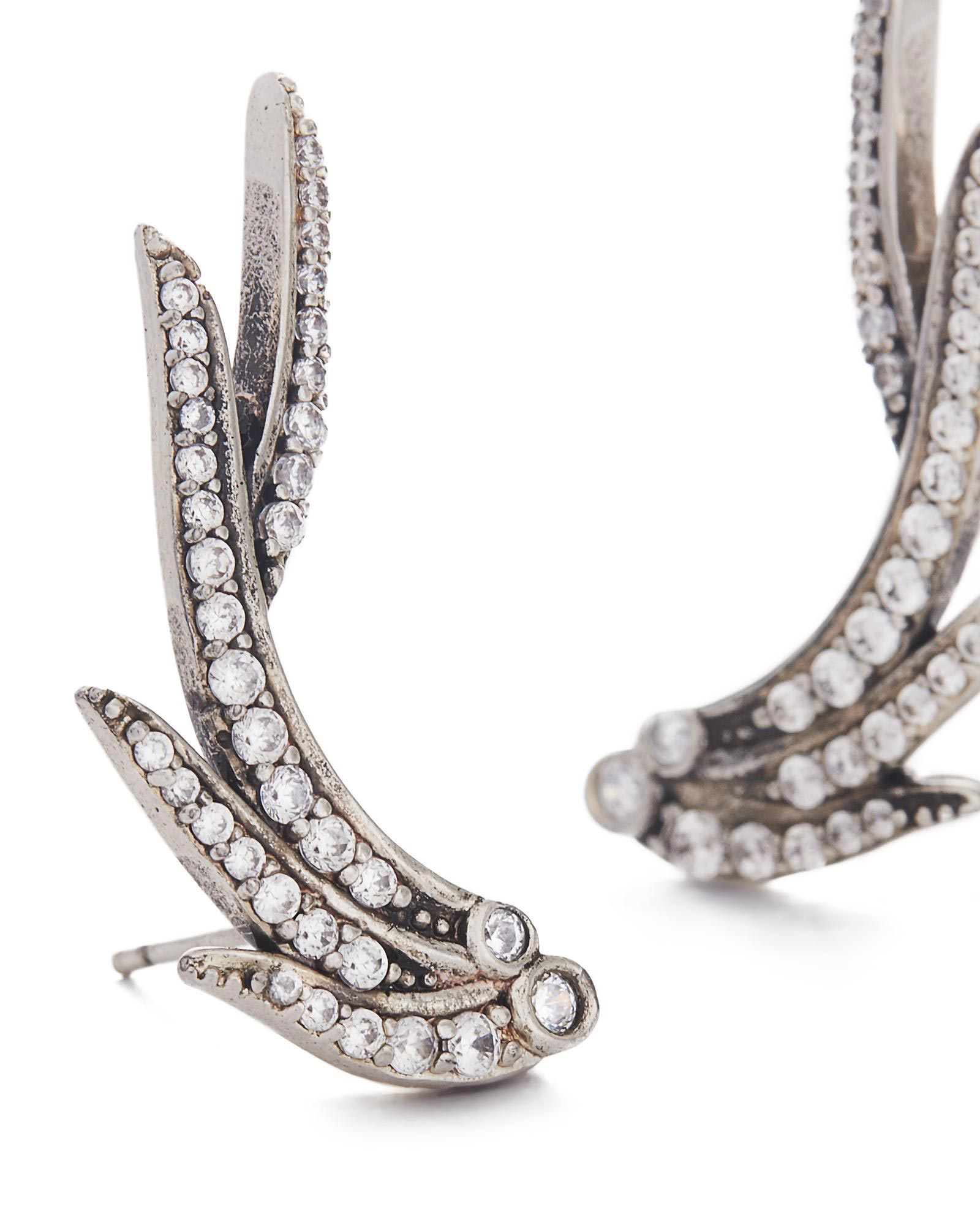 Daphne Ear Climbers in Antique Silver