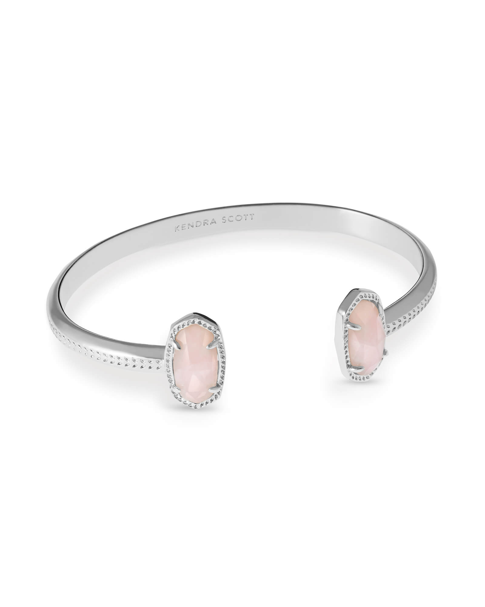 Elton Silver Pinch Bracelet in Rose Quartz