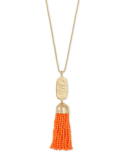 Monroe Gold Long Pendant Necklace in Orange Opaque Glass