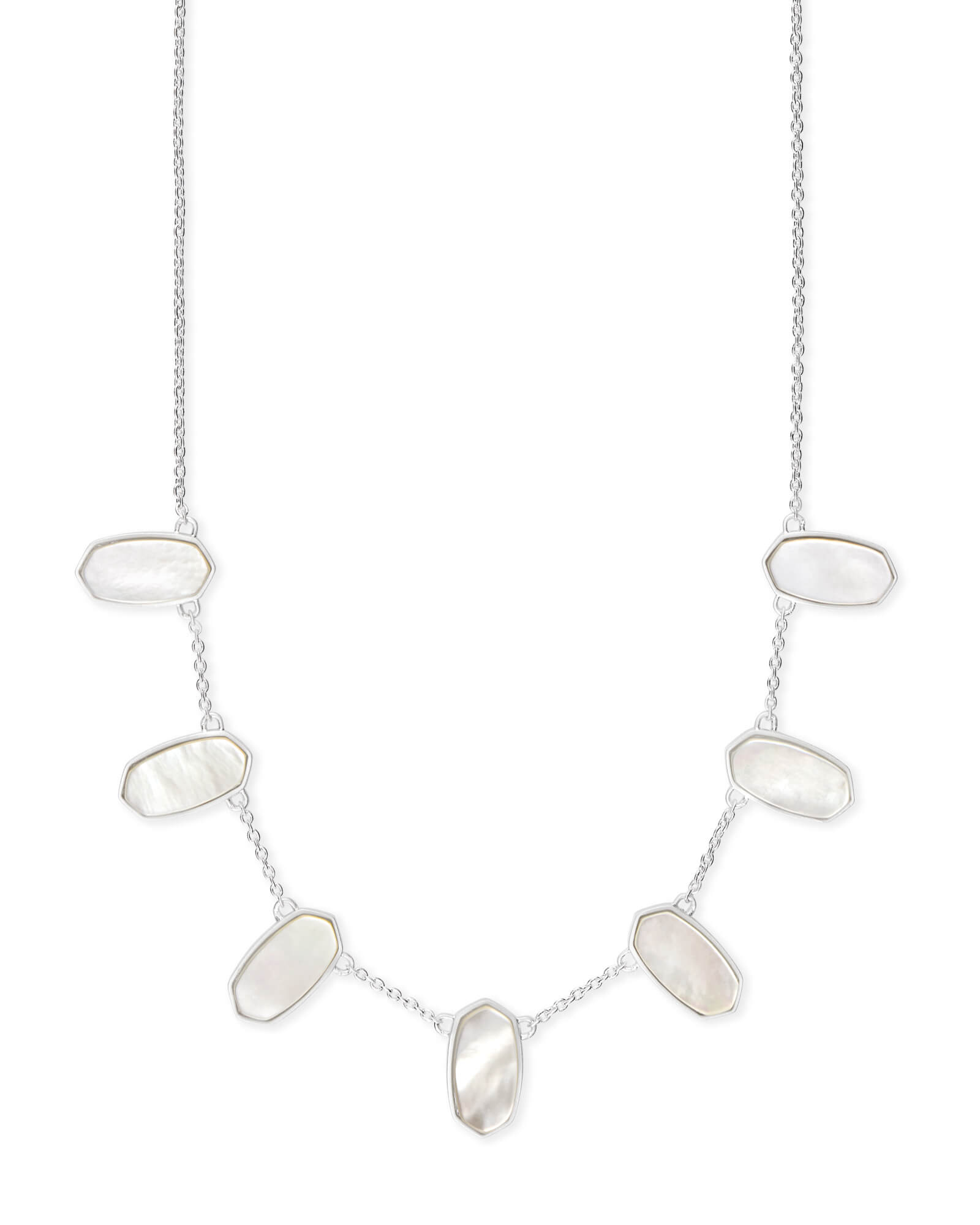 Meadow Bright Silver Collar Necklace in Ivory Pearl
