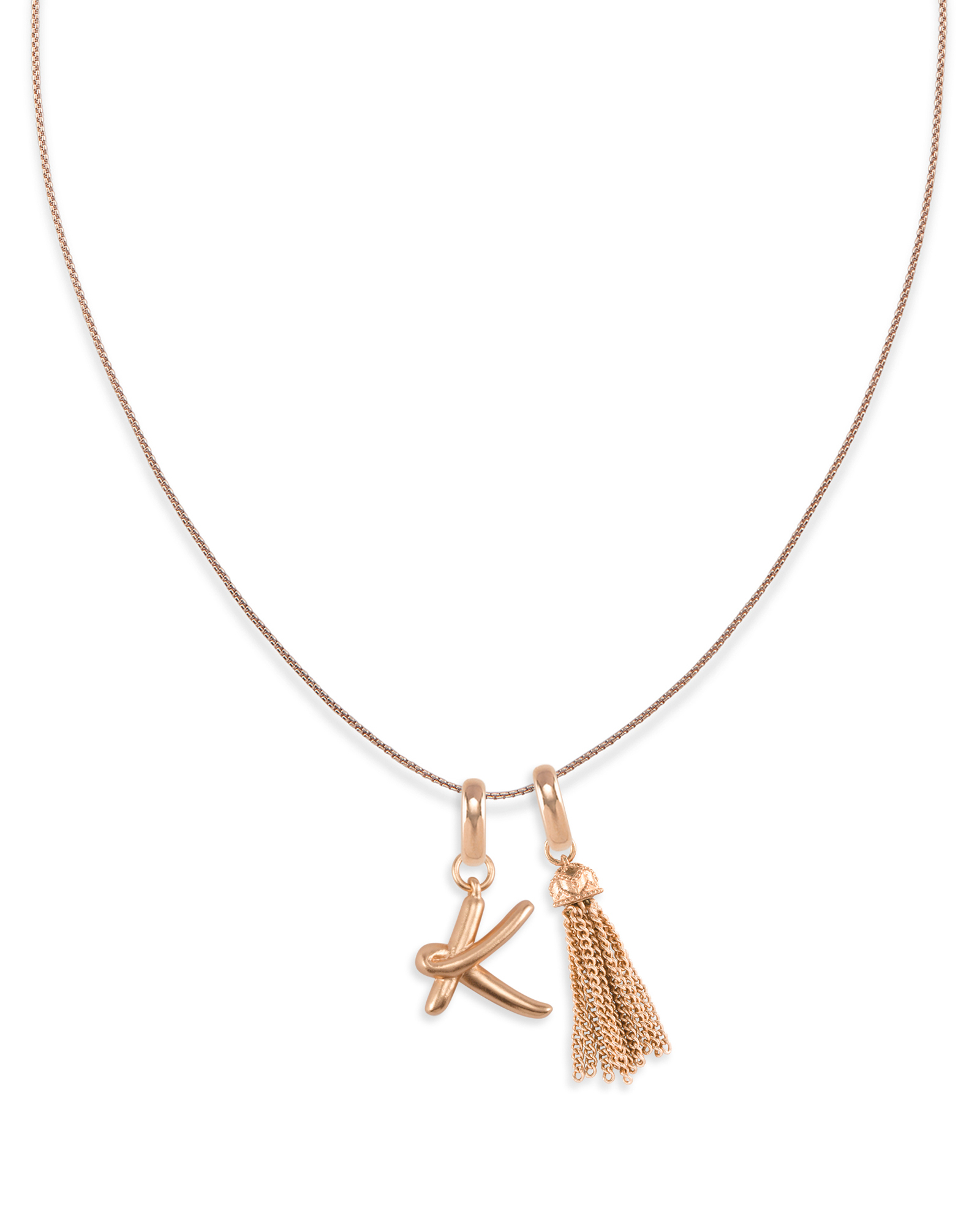 Letter Charm Tassel Necklace in Rose Gold
