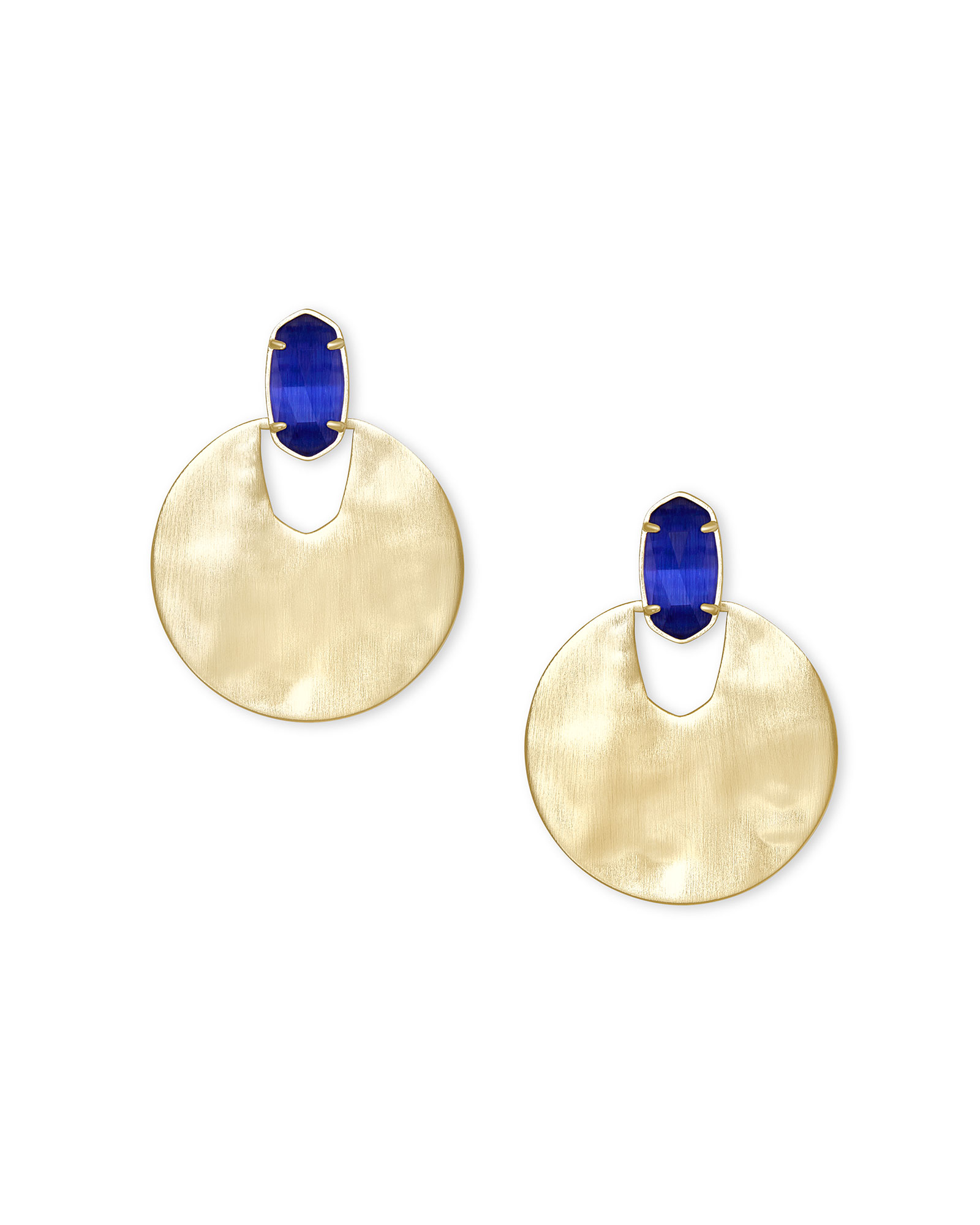 Deena Gold Hoop Earrings in Cobalt Cat's Eye