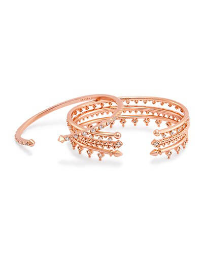 Delphine Pinch Bracelet Set in Rose Gold