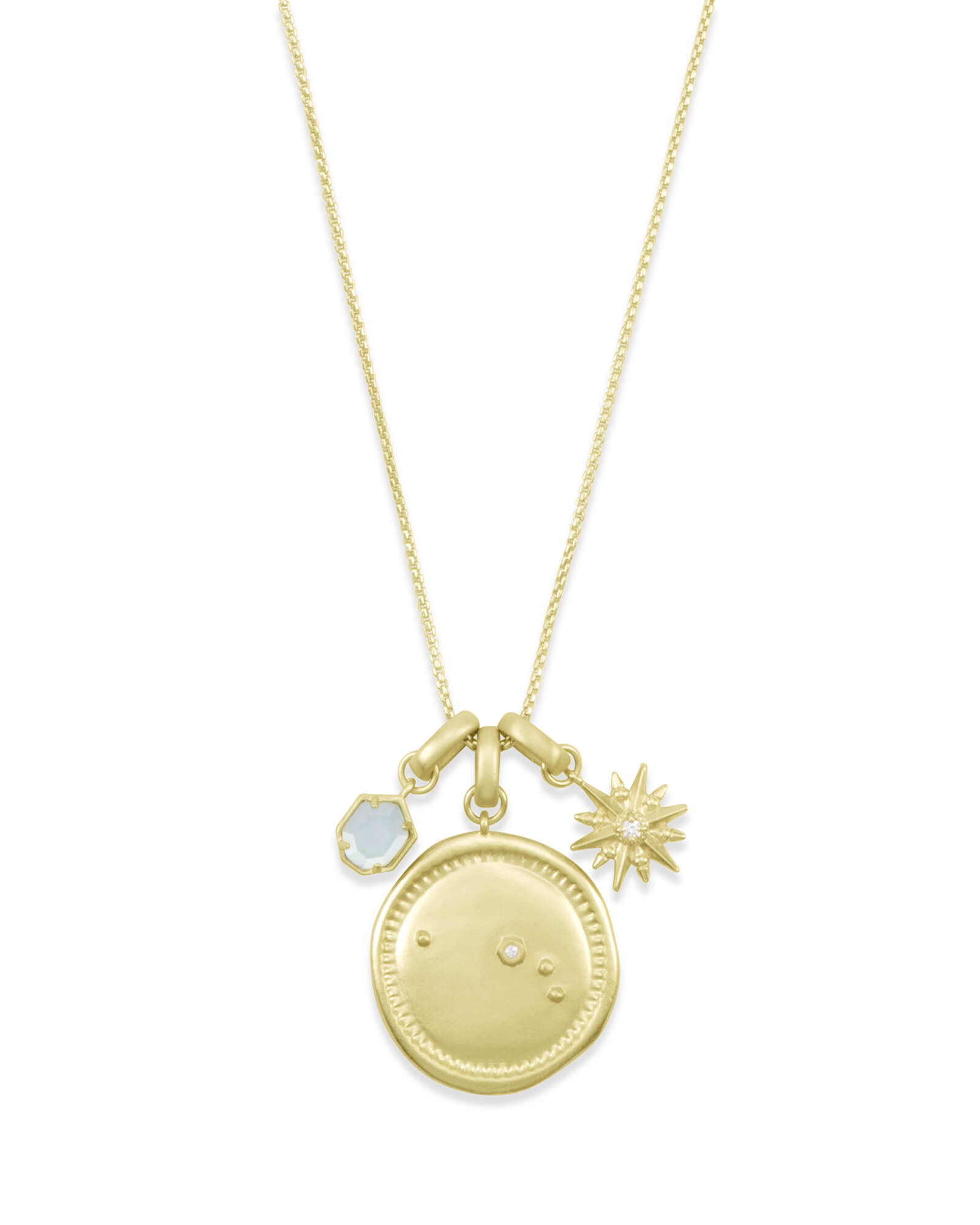 March Aries Charm Necklace Set in Gold