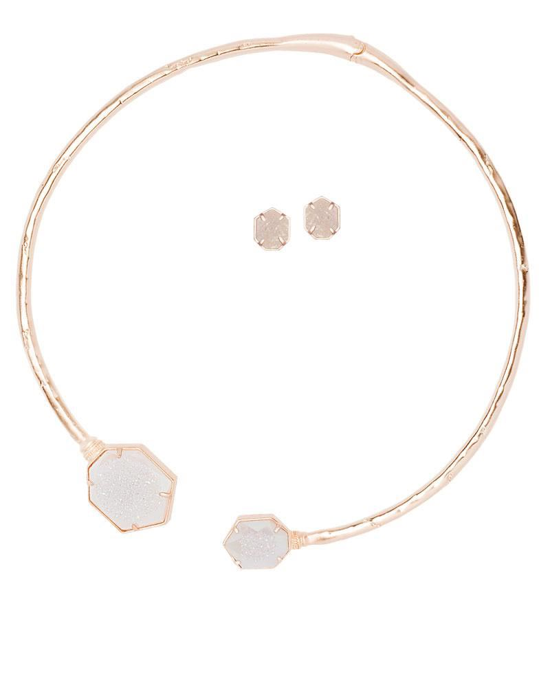 Coursen And Taylor Rose Gold Iridescent Drusy Gift Set