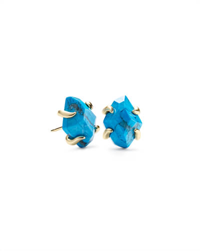Inaiyah Gold Stud Earrings In Aqua Howlite
