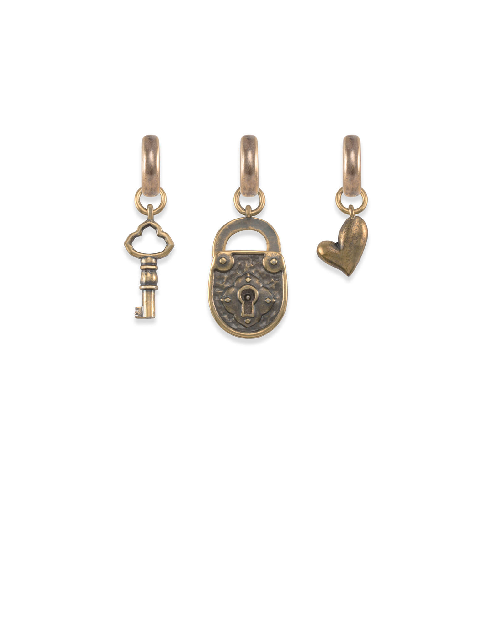 Key to My Heart Charm Set in Vintage Gold