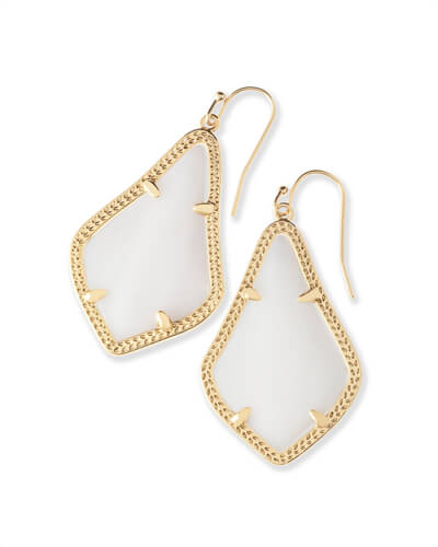 Alex Gold Drop Earrings in White Pearl