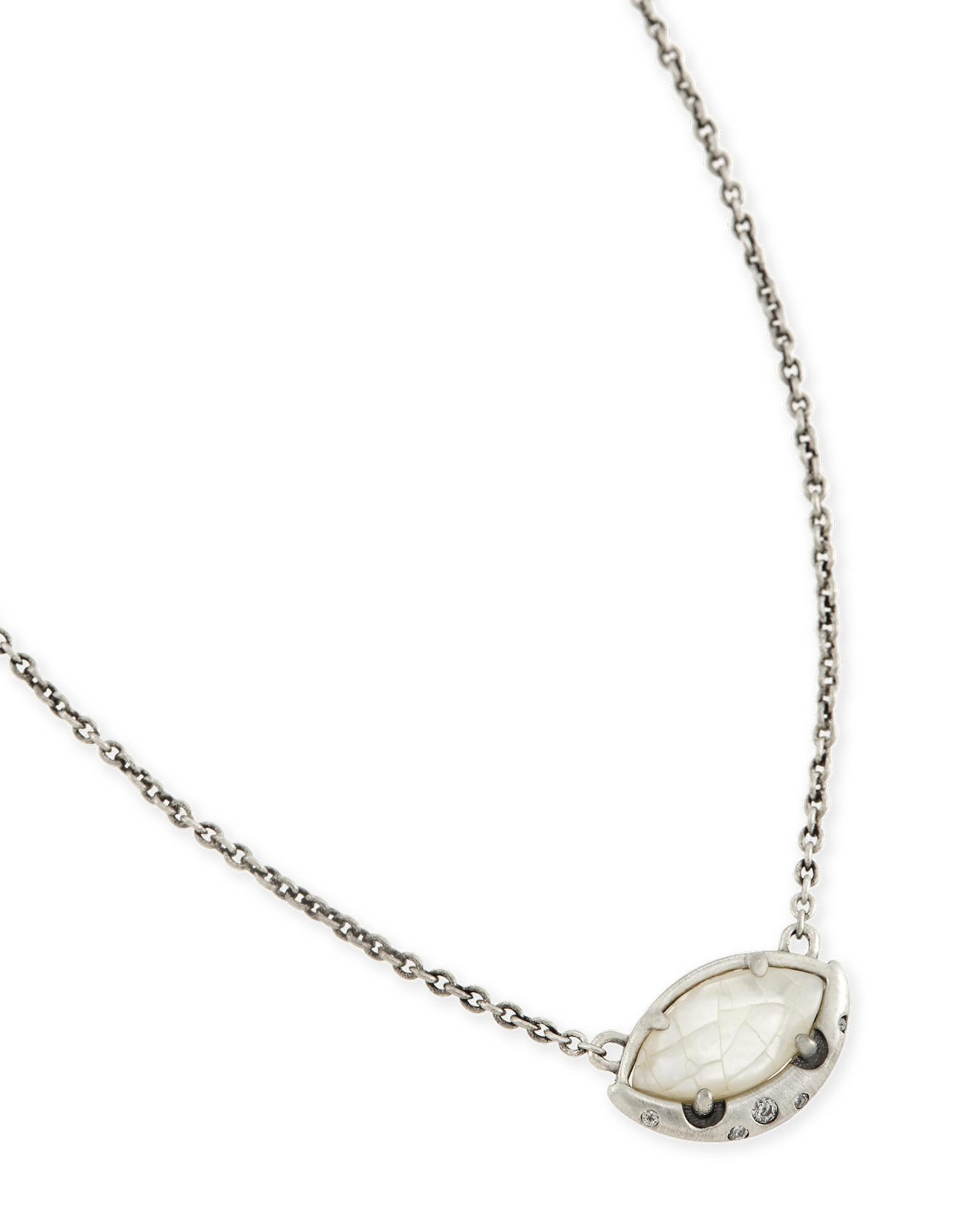 Mikka Pendant Necklace in Crackle Ivory Pearl