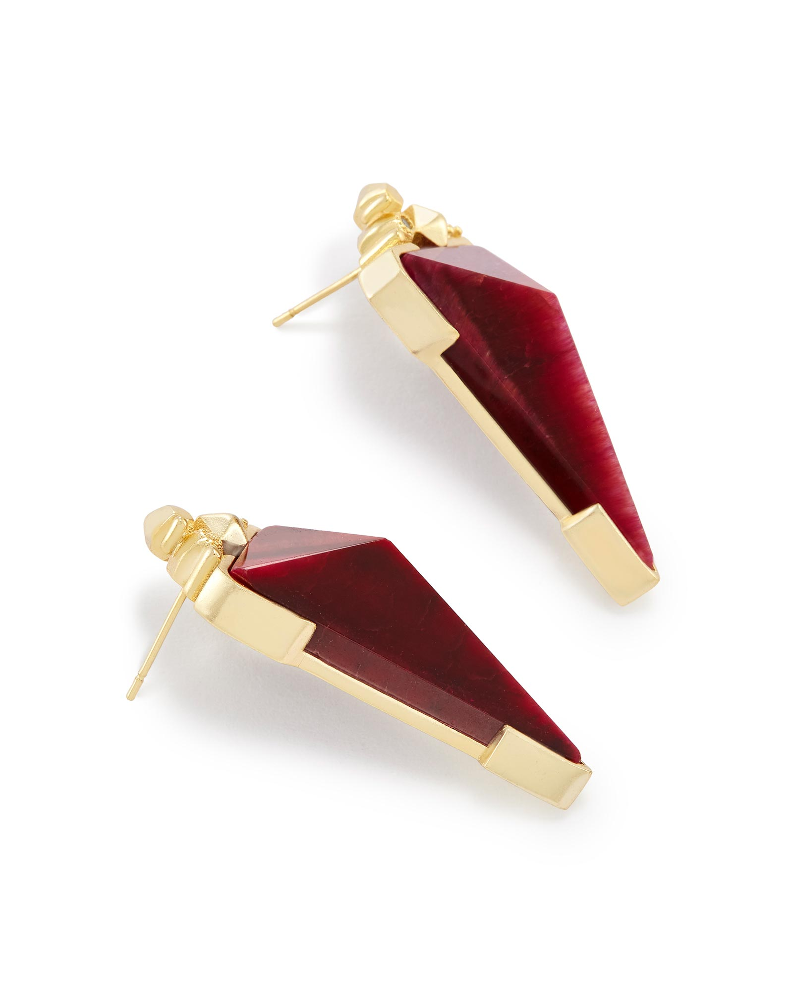 Libby Statement Earrings in Bordeaux Tiger's Eye