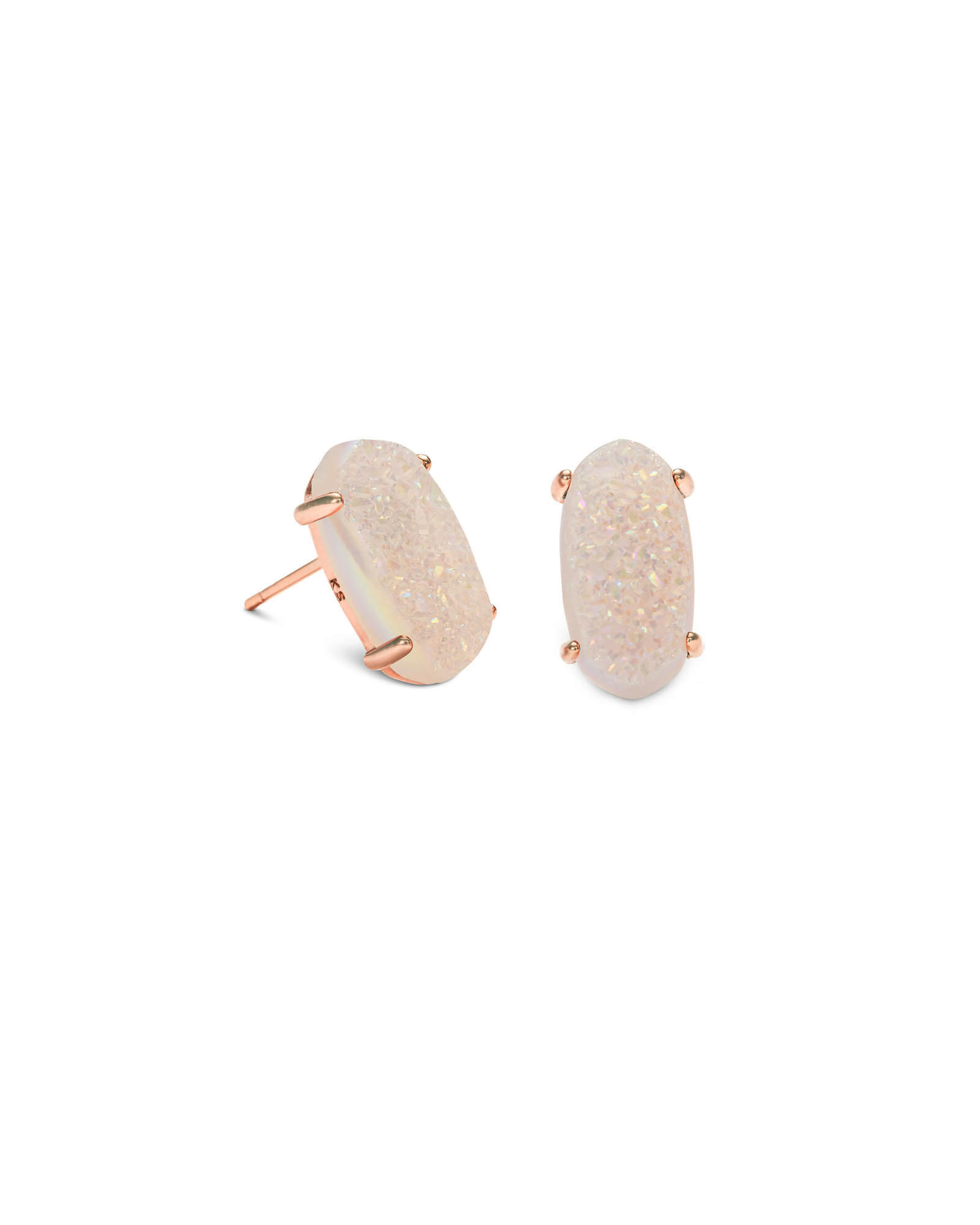 Betty Rose Gold Stud Earrings in Iridescent Drusy