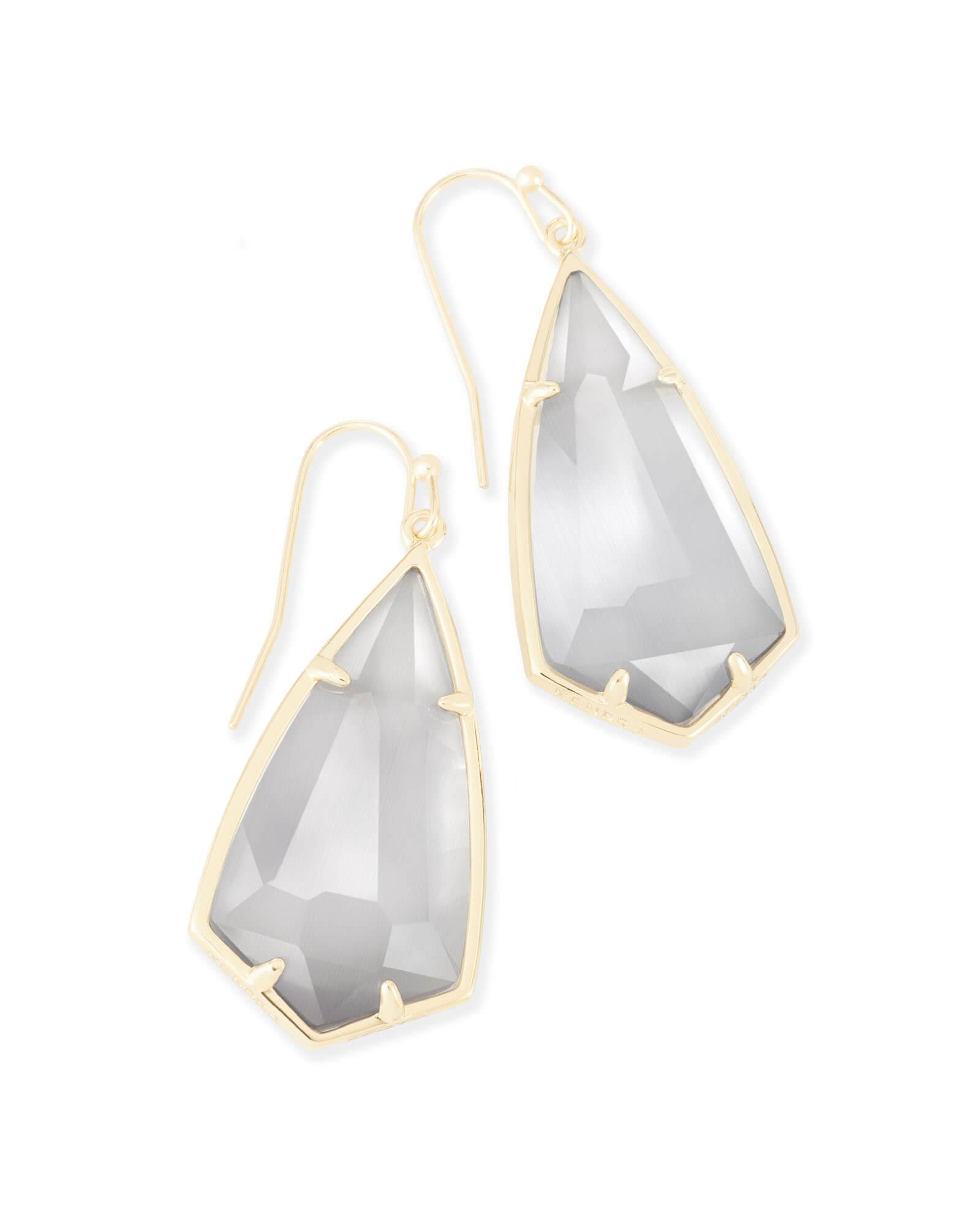 Carla Gold Drop Earrings In Slate