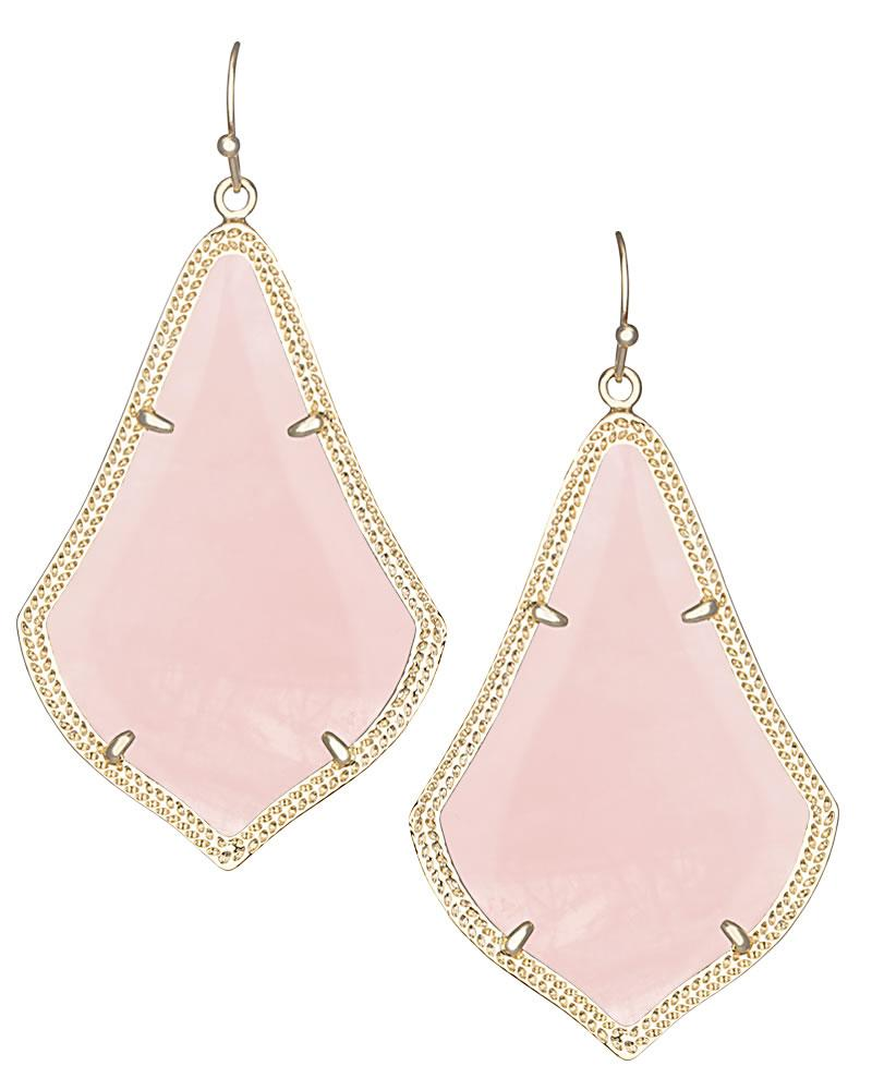 Alexandra Earrings in Rose Quartz