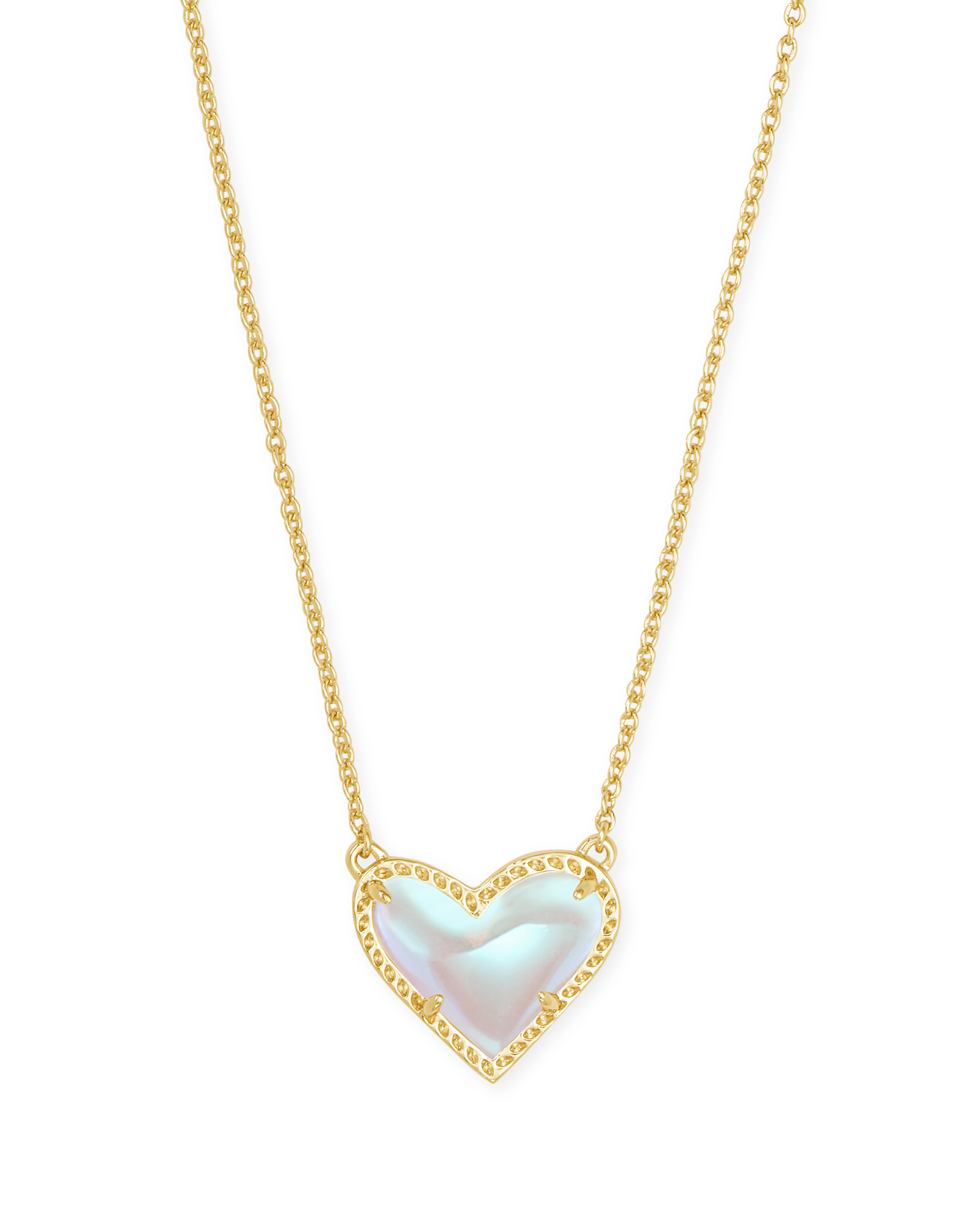 Ari Heart Gold Pendant Necklace in Dichroic Glass