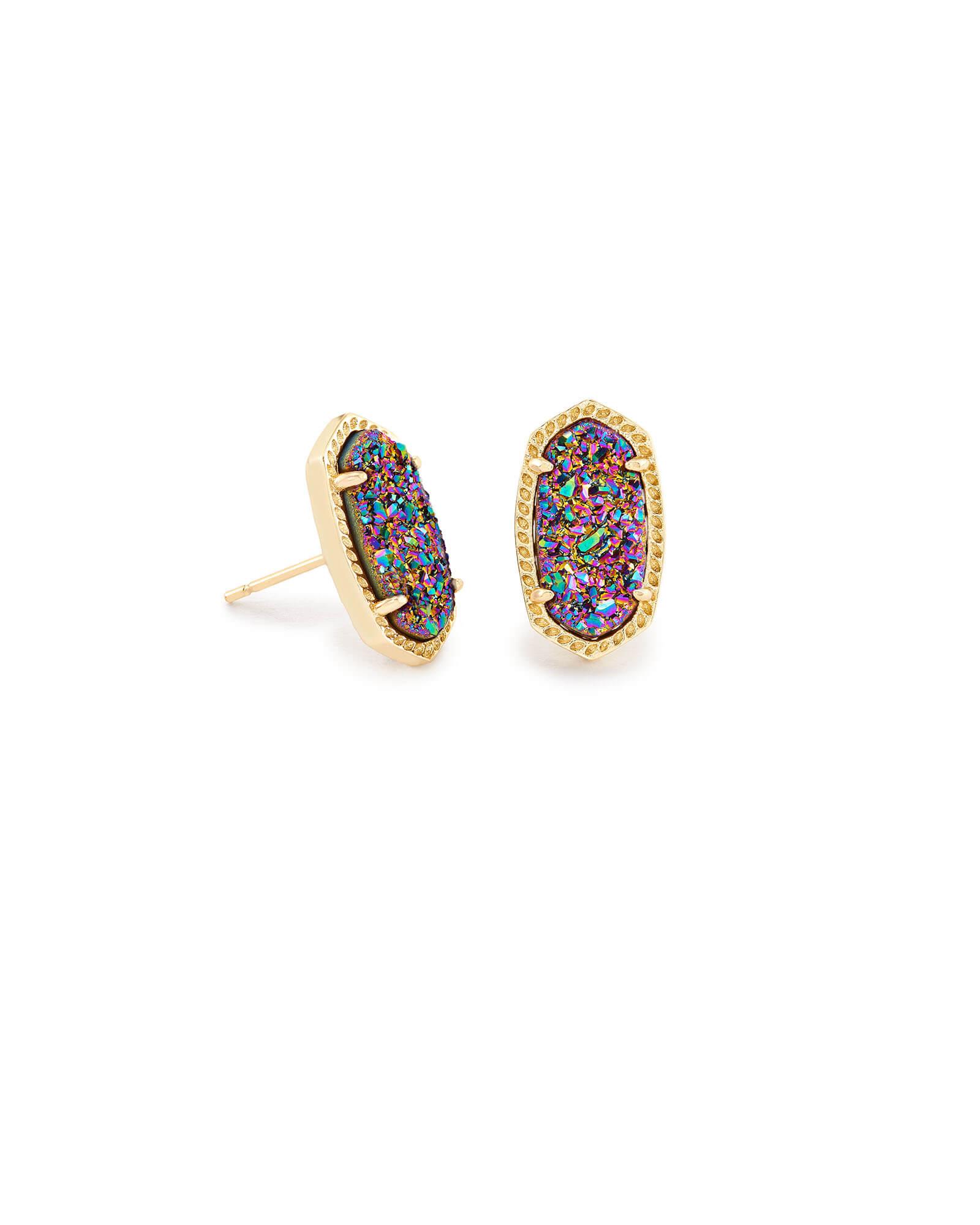 e8914673612af Ellie Gold Stud Earrings in Multicolor Drusy   Kendra Scott