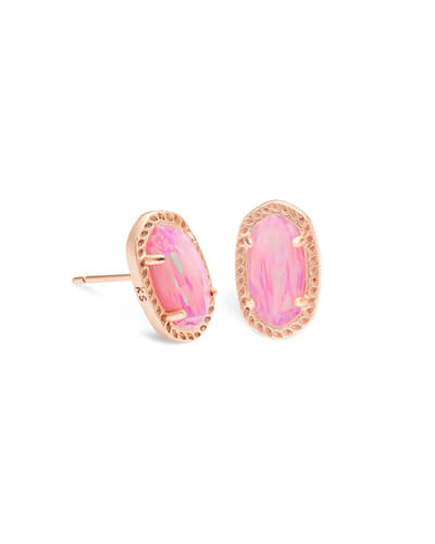 Emery Rose Gold Stud Earrings in Light Pink Opal