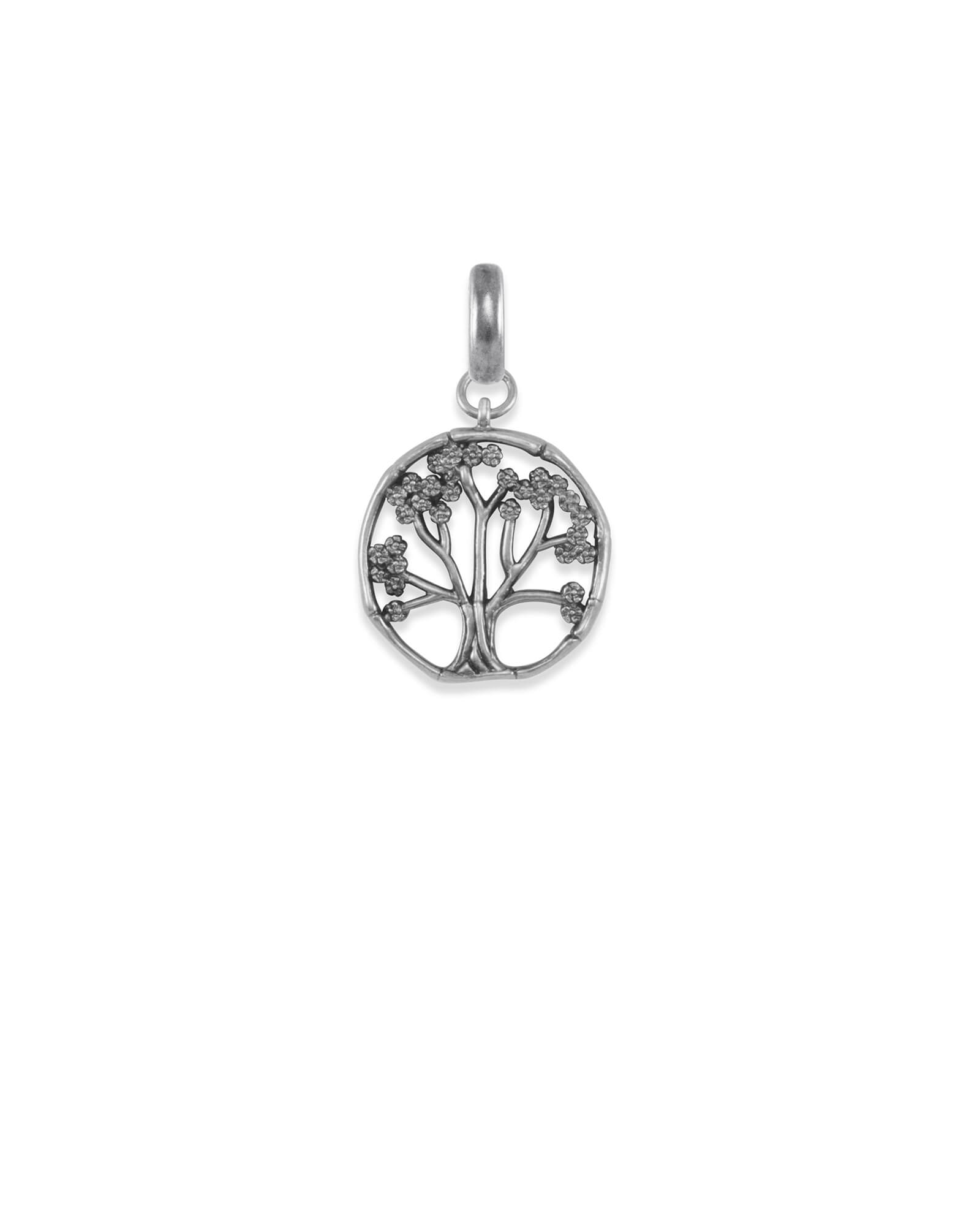 Cherry Blossom Tree Charm in Vintage Silver