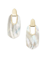 Kailyn Gold Statement Earrings in Ivory Mother-of-Pearl
