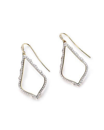 Sophia Drop Earrings in Pave Diamond and 14k Yellow Gold