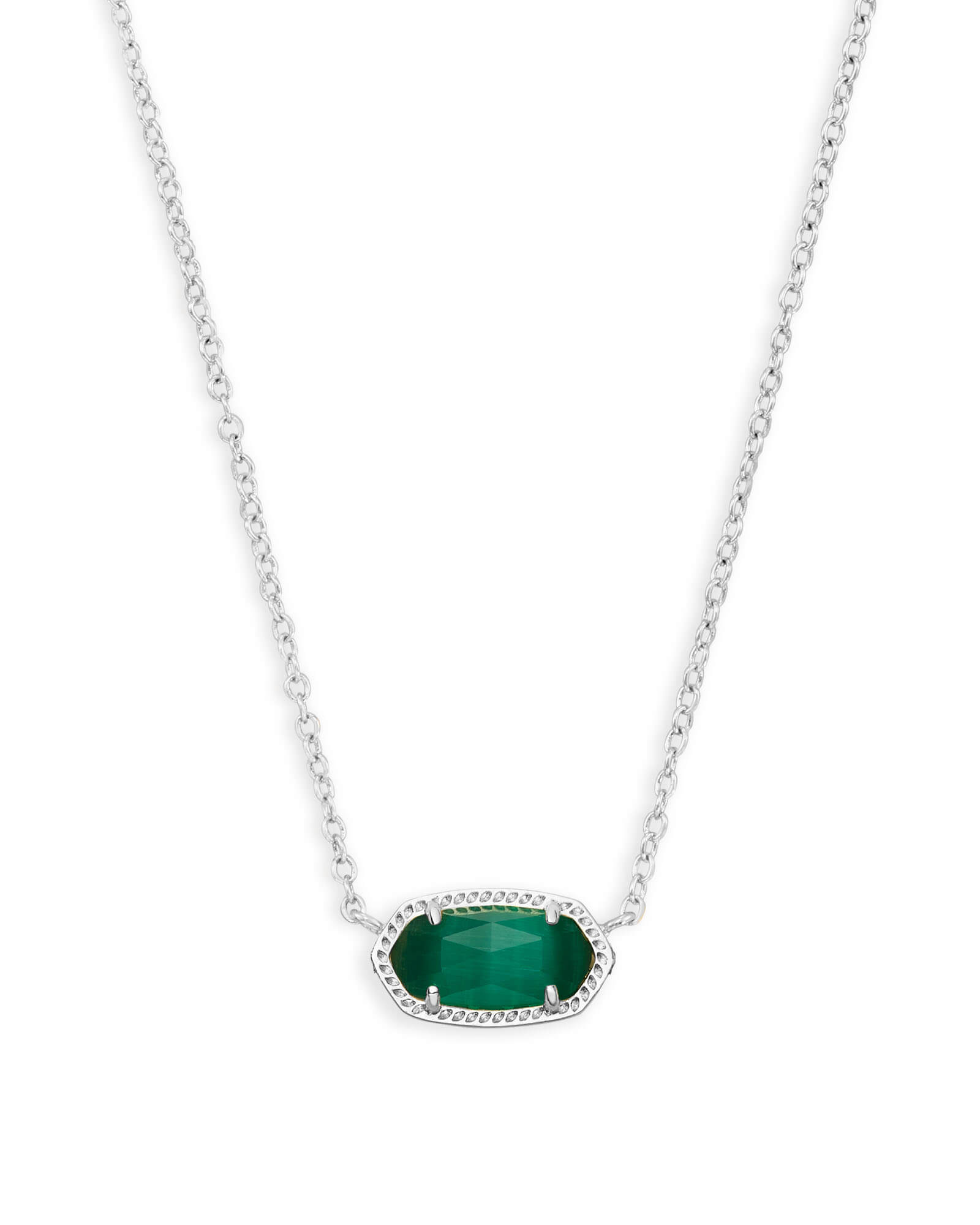 Elisa Silver Pendant Necklace in Emerald Cats Eye