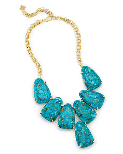 Harlow Statement Necklace in Bronze Veined Turquoise