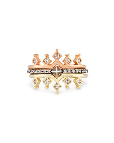 Lottie Stackable Ring Set in Mixed Metals