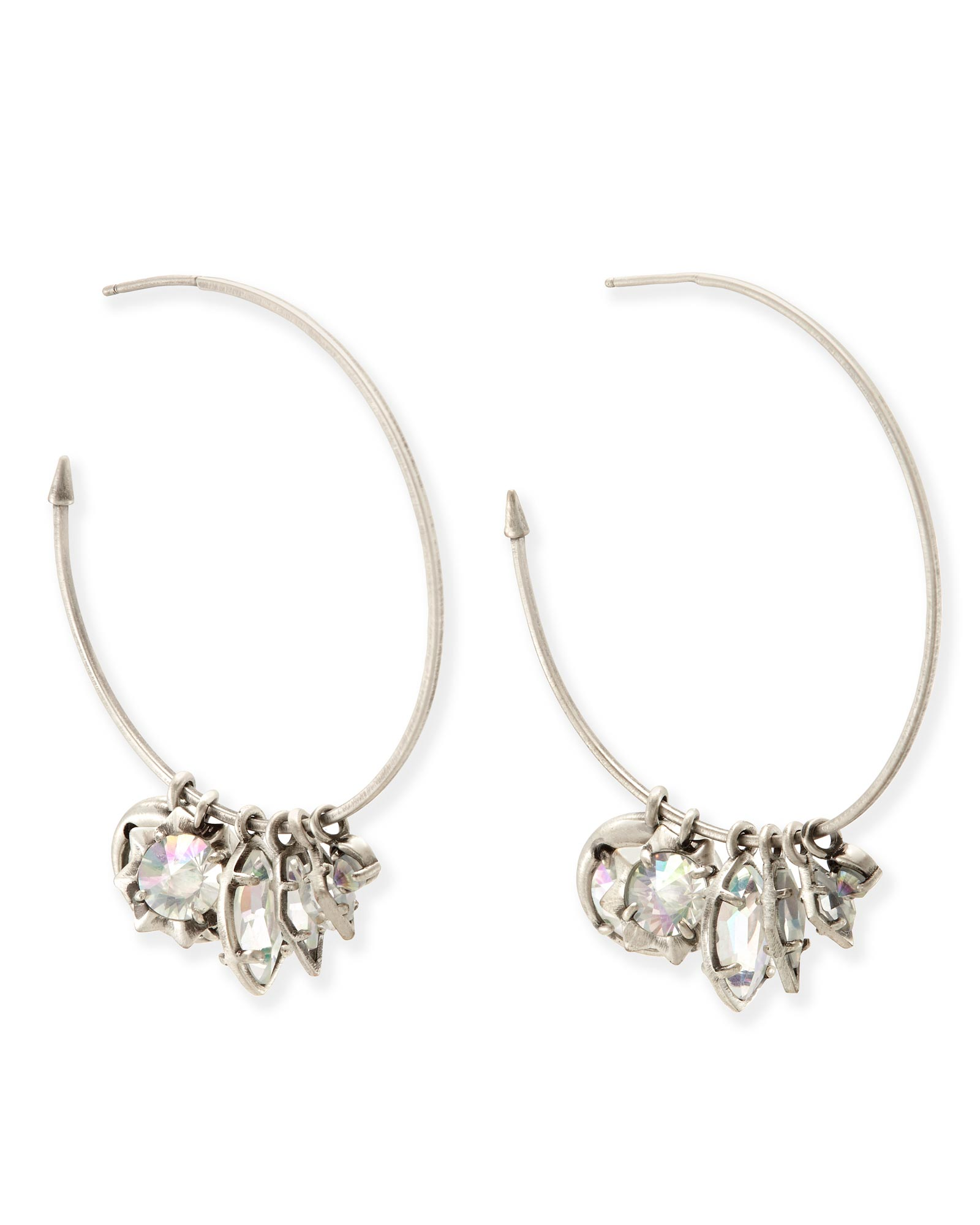 Alyssa Charm Hoop Earrings In Antique Silver